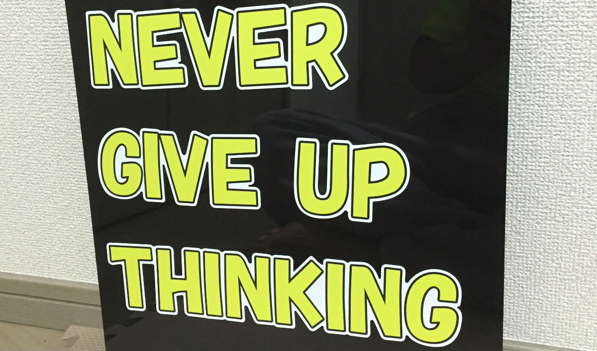 NEVER GIVE UP THINKING