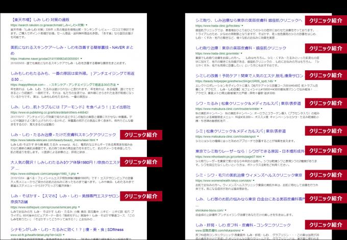 「しみ△しわ」検索結果画面