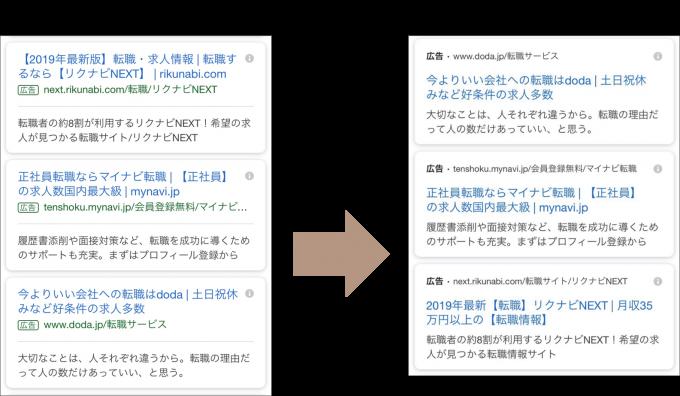 検索結果のデザイン変更②
